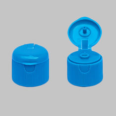 Blue Ribbed Flip Top Plastic Caps , Flip Top Bottle Lids With Round Cover