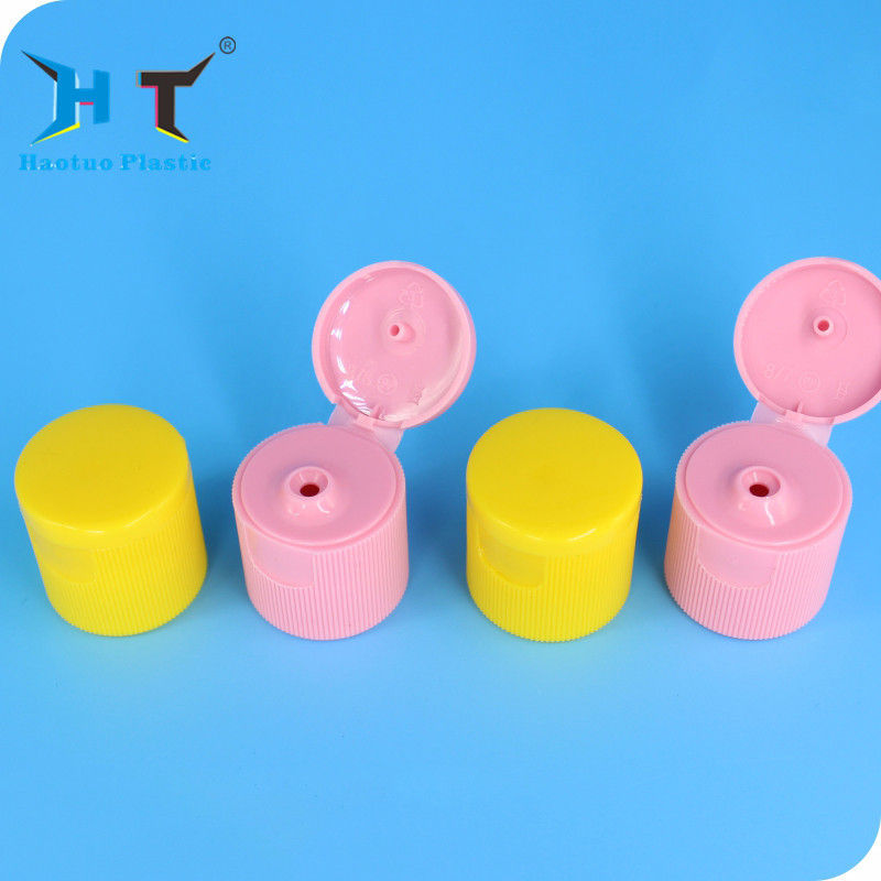 Colorful Flip Top Plastic Caps 3mm And 5mm Orifice 28 / 415 For Cosmetic Bottle supplier